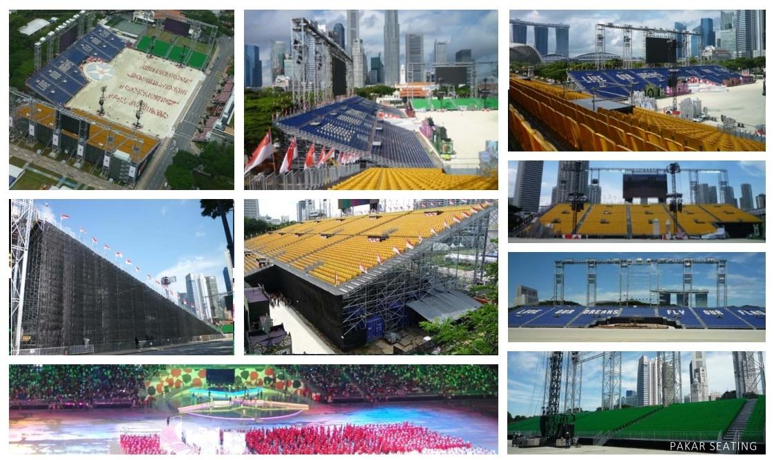 Grandstand Singapore.National Day Parade 2010 - 29,000 seats of Pakar Grandstand